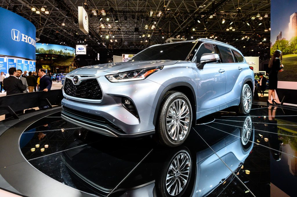 A new Toyota Highlander on display at an auto show