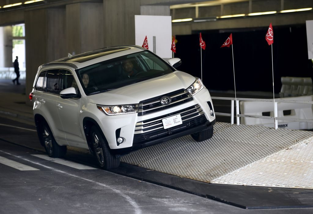A Toyota Highlander on a test drive