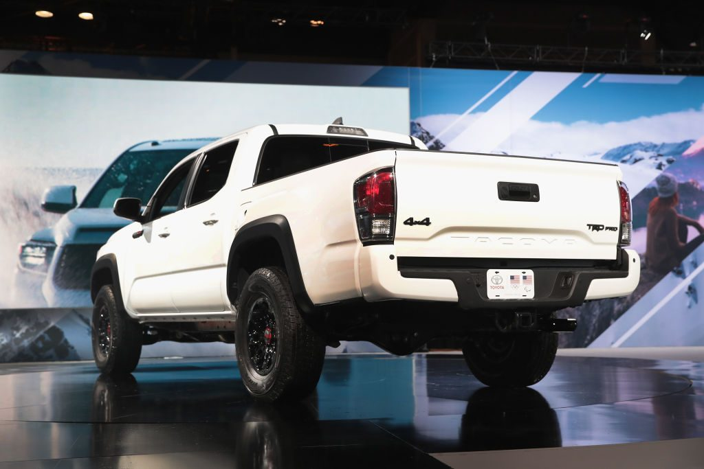 A Toyota Tacoma TRD on display at an auto show