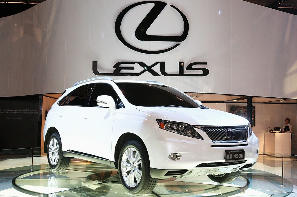 The Lexus RX on display at an auto show.