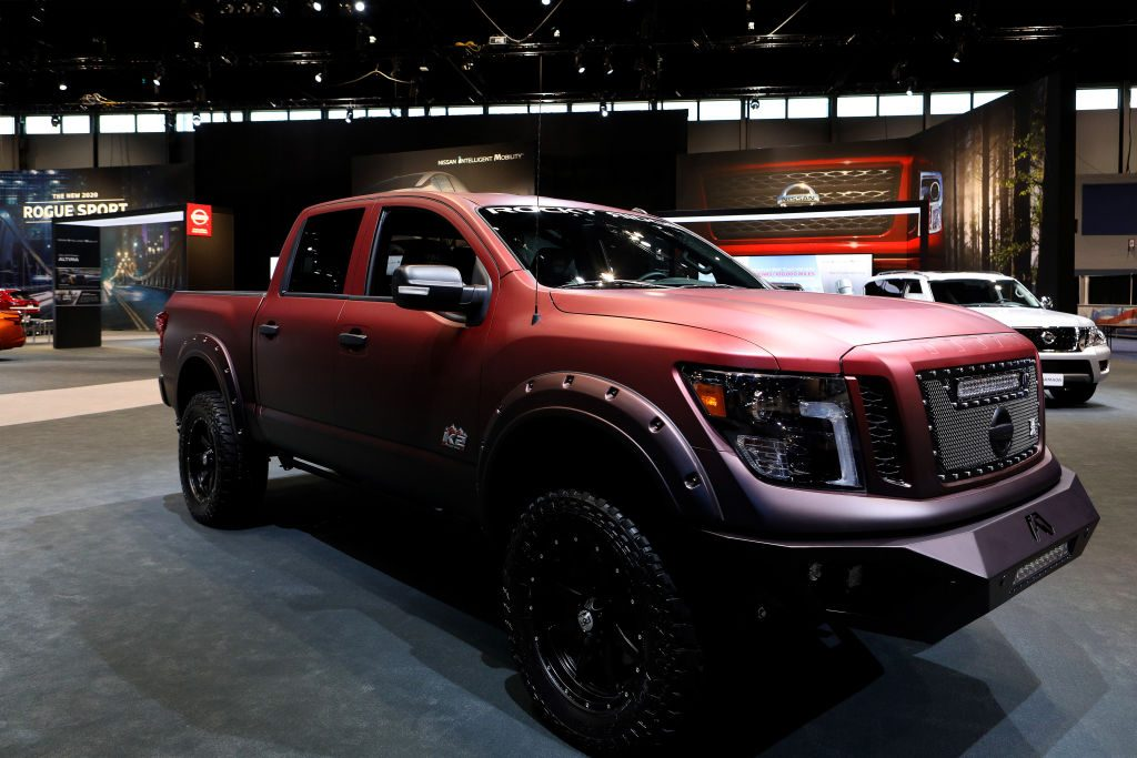 A Nissan TItan on display at an auto show