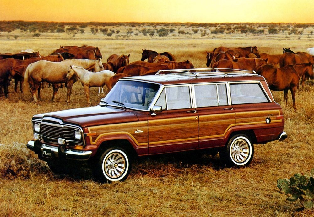 1984 Jeep Grand Wagoneer parked in a field