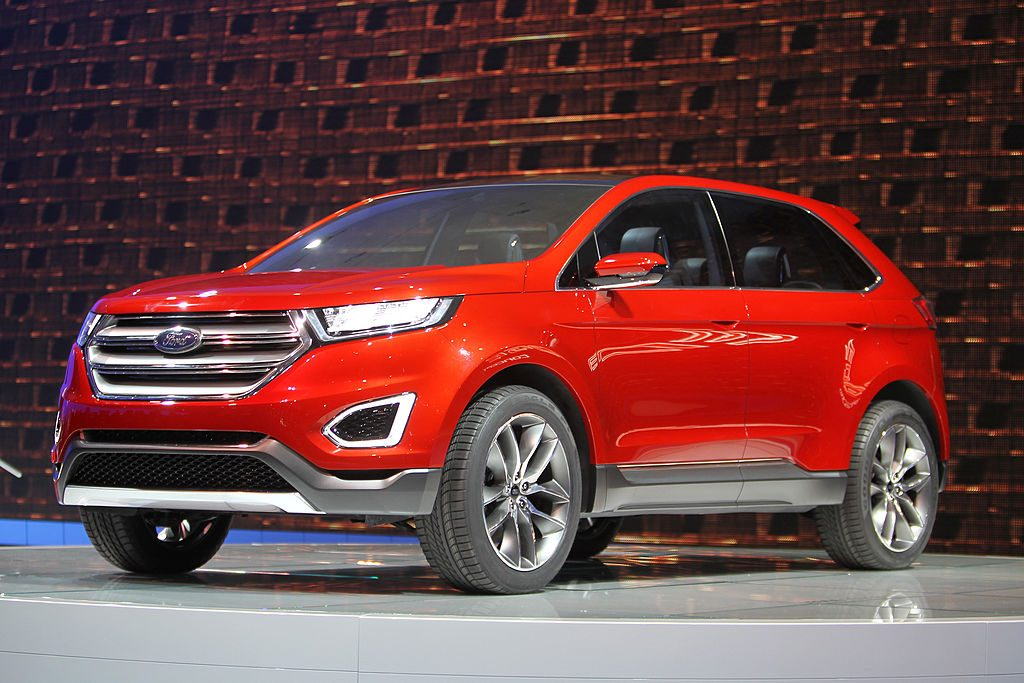 A Ford Edge concept vehicle is shown during media preview days at the 2013 Los Angeles Auto Show