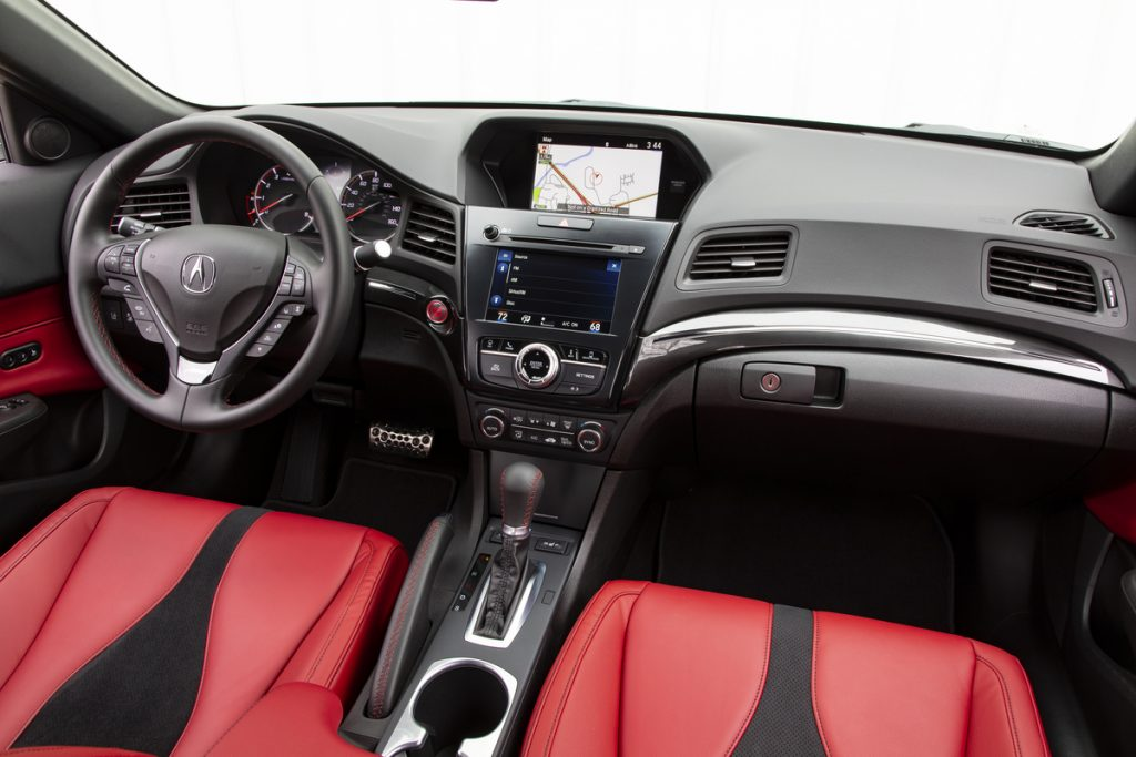 The Acura ILX A-Spec features red sport-inspired seats.