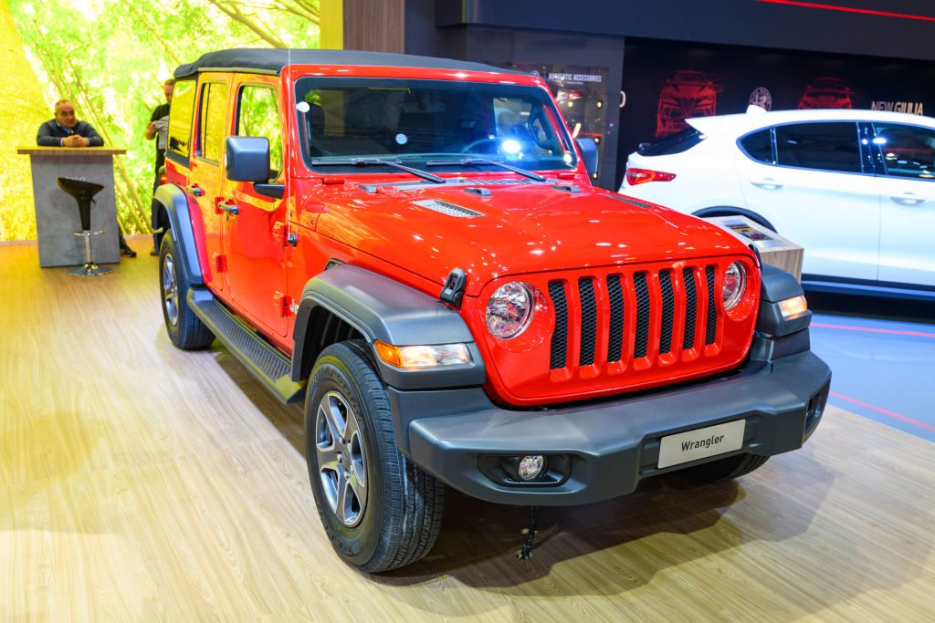 Jeep Wrangler 4x4 off road vehicle on display at Brussels Expo