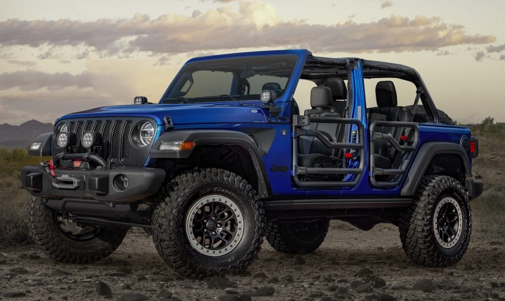 2020 Jeep Wrangler parked on mountain top