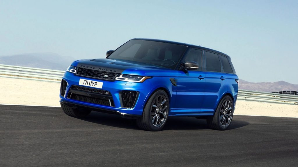 A blue 2020 Land Rover Range Rover Sport SVR speeding down on a dessert highway.