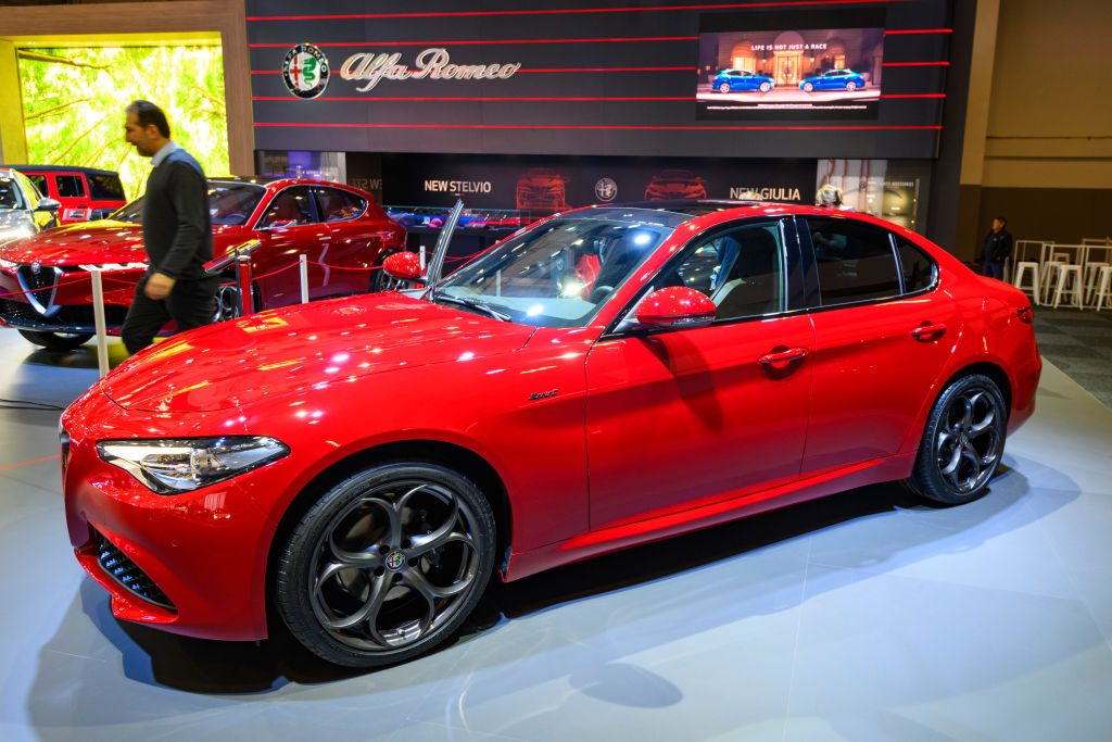 An Alfa Romeo GIulia on display at an auto show
