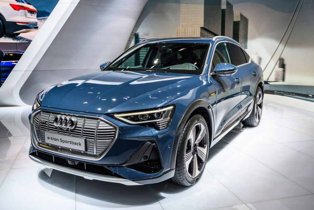 Audi e-tron Sportback full electric luxury crossover SUV car on display at Brussels Expo