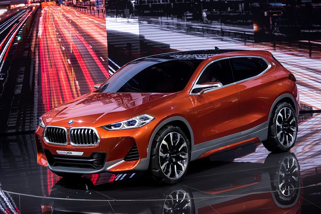 The BMW X2 on display at an auto show