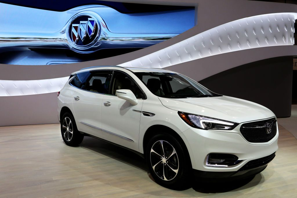 A 2020 Buick Enclave on display at an auto show