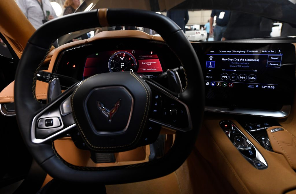 A close-up of the squared-off steering wheel in the 2020 Chevrolet Corvette.