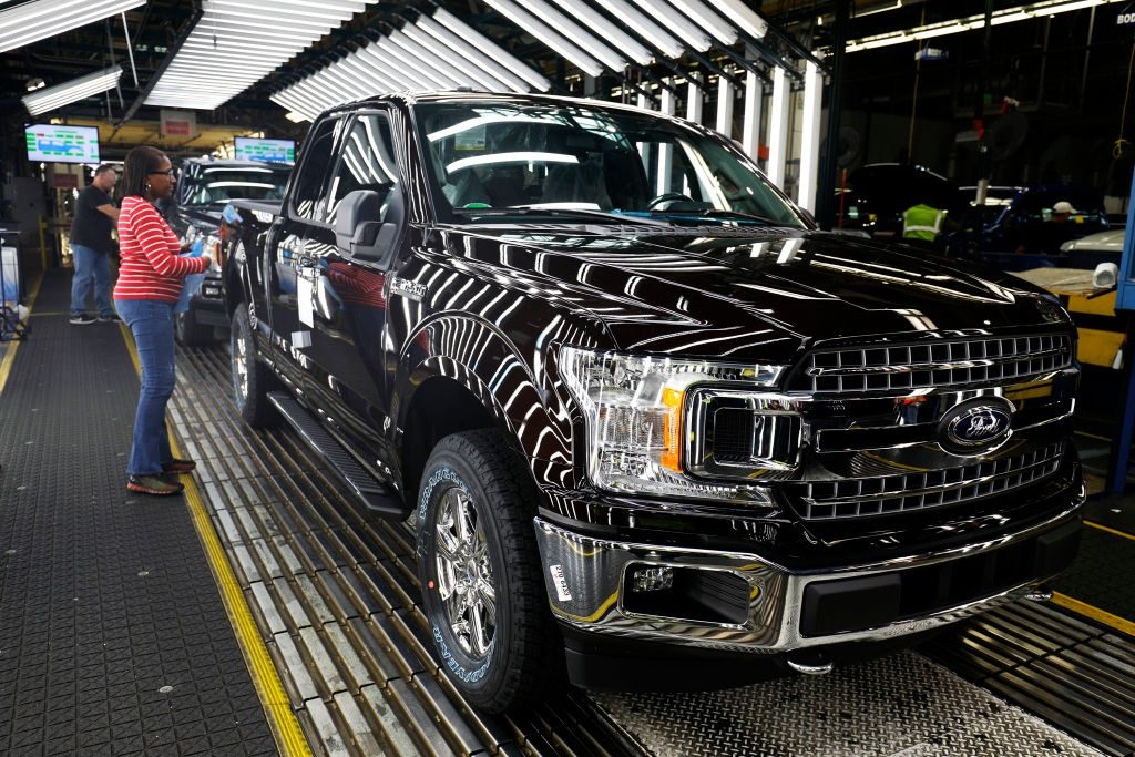 Ford F150 trucks go through the customer acceptance line at the Ford Dearborn Truck Plant