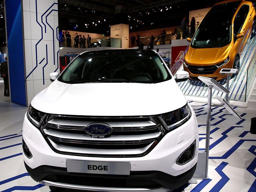 A Ford Edge model car is on display at the IAA Frankfurt International Motor Show