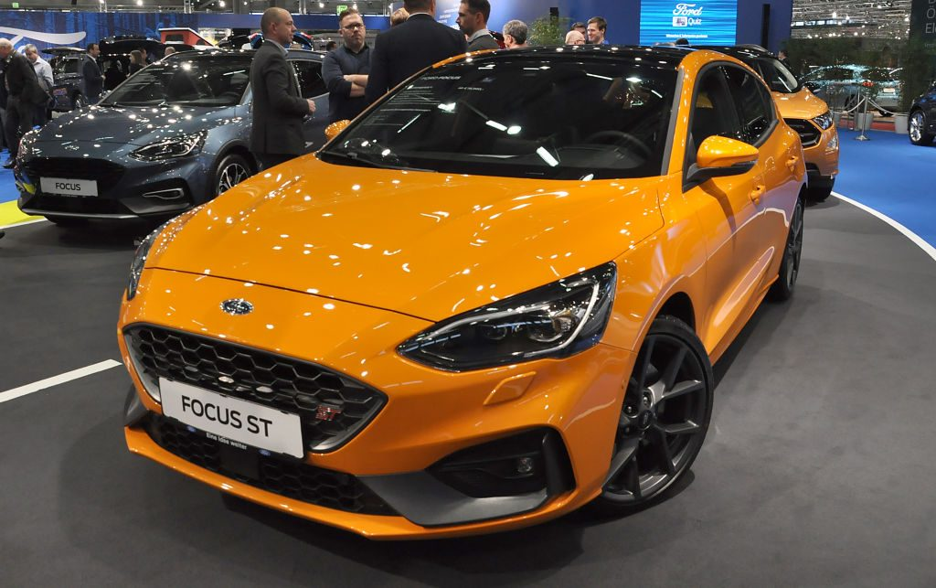 A Ford Focus ST is seen during the Vienna Car Show press preview at Messe Wien, as part of Vienna Holiday Fair
