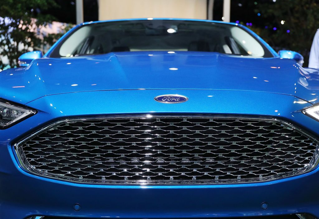 The new Ford Fusion is displayed at the  New York International Auto Show on at the Jacob K. Javits Convention Center March 28, 2018 in New York City.