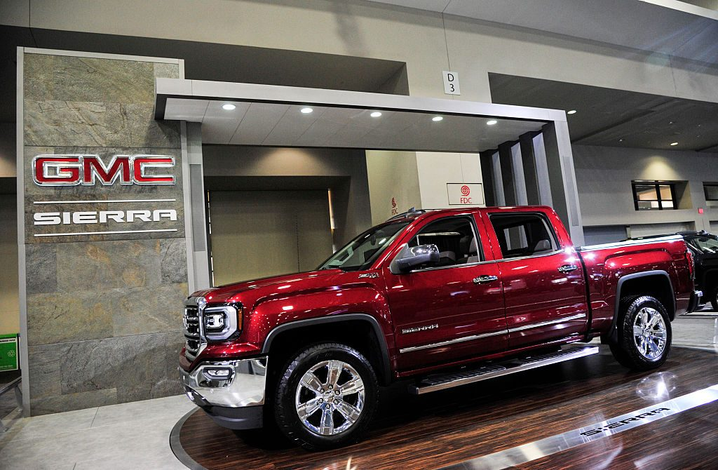 The 2016 GMC Sierra is on display during the Washington Auto Show at the Washington Convention Center in Washington DC