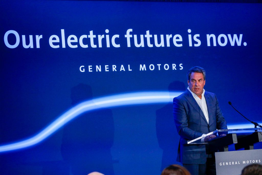 Mark Reuss, President of General Motors, announces that GMs Detroit-Hamtramck Assembly plant will build the all-electric Cruise Origin self-driving shuttle on January 27, 2020