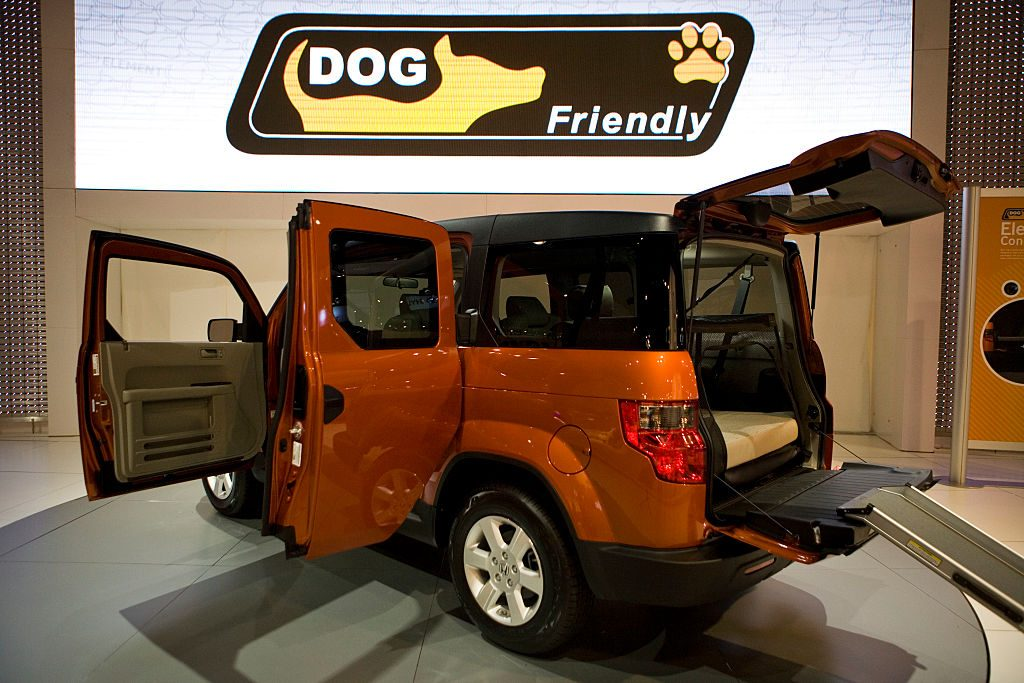 A Honda Element SUV on display at a show