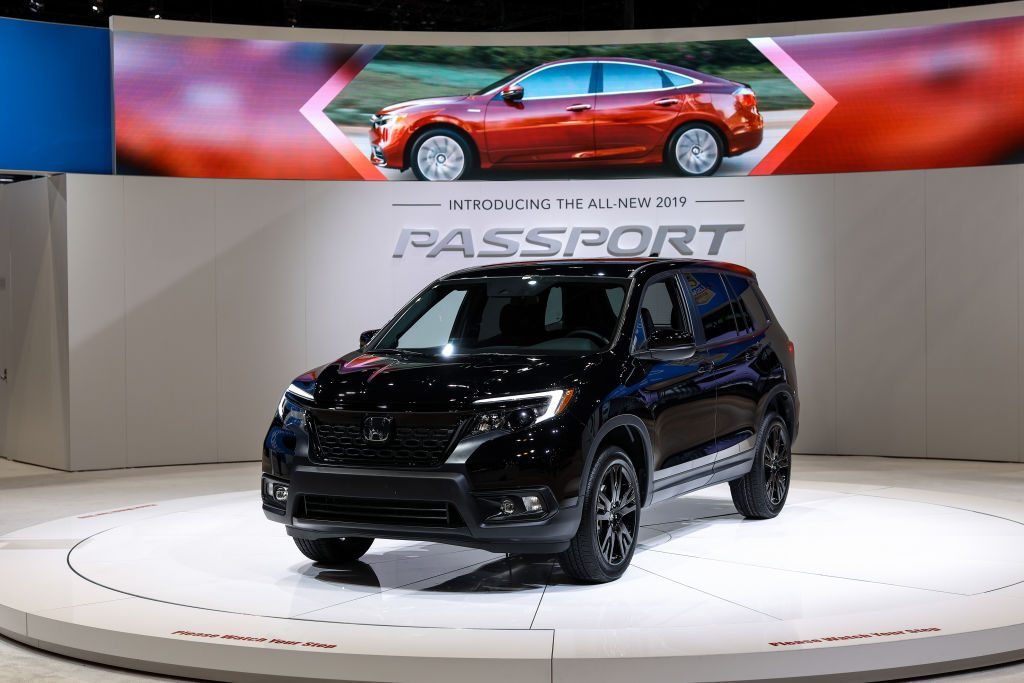 A Honda Passport AWD Sport is on display at the Chicago Auto Show