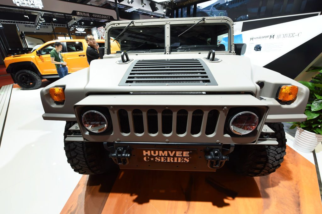 Hummer car is exhibited at the booth of National Exhibition and Convention Center ahead of the 17th Shanghai International Automobile Industry Exhibition