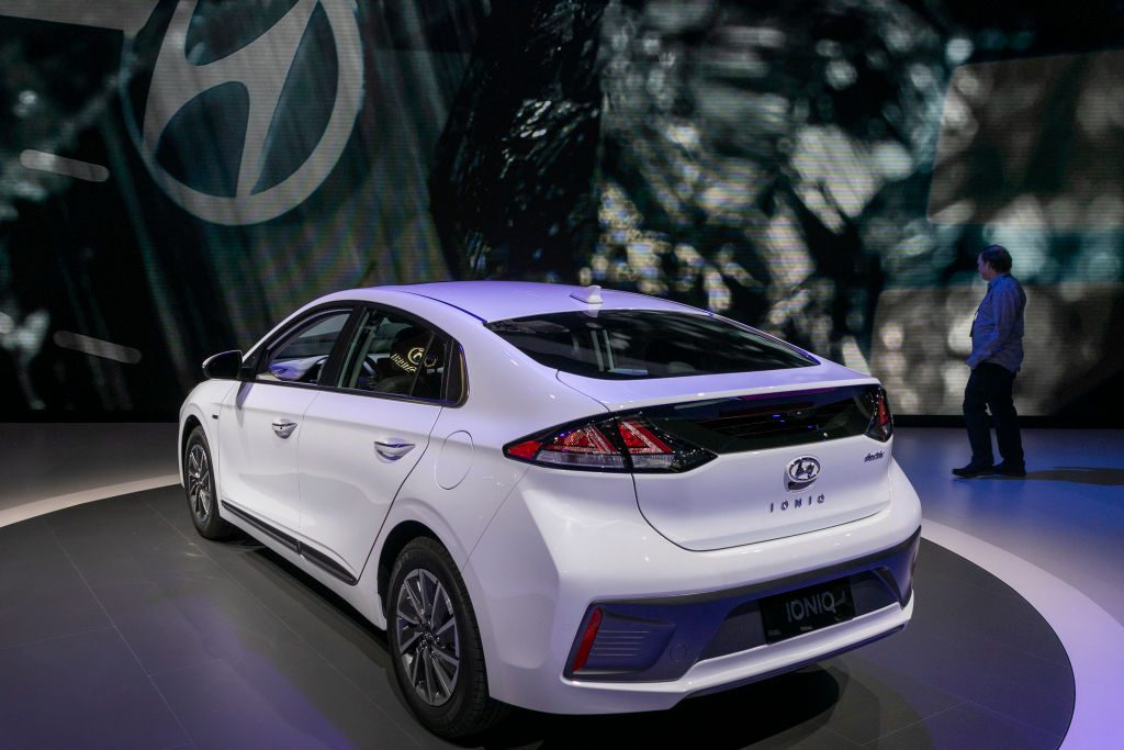 The Hyundai Ioniq is shown at AutoMobility LA on November 21, 2019 in Los Angeles, California