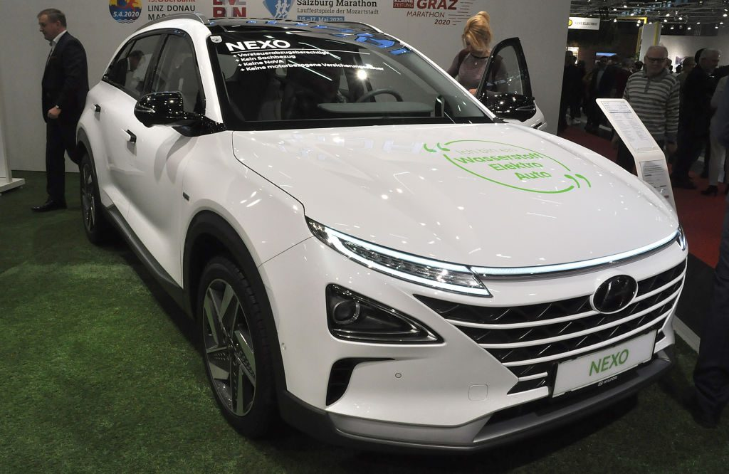A Hyundai Nexo is seen during the Vienna Car Show press preview at Messe Wien