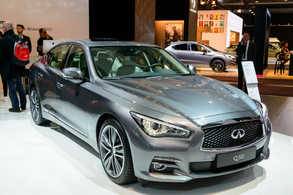 An Infiniti Q50 on display at an auto show
