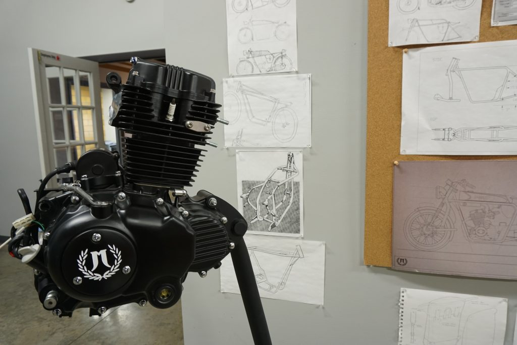 Janus Motorcycles engine and concept sketches