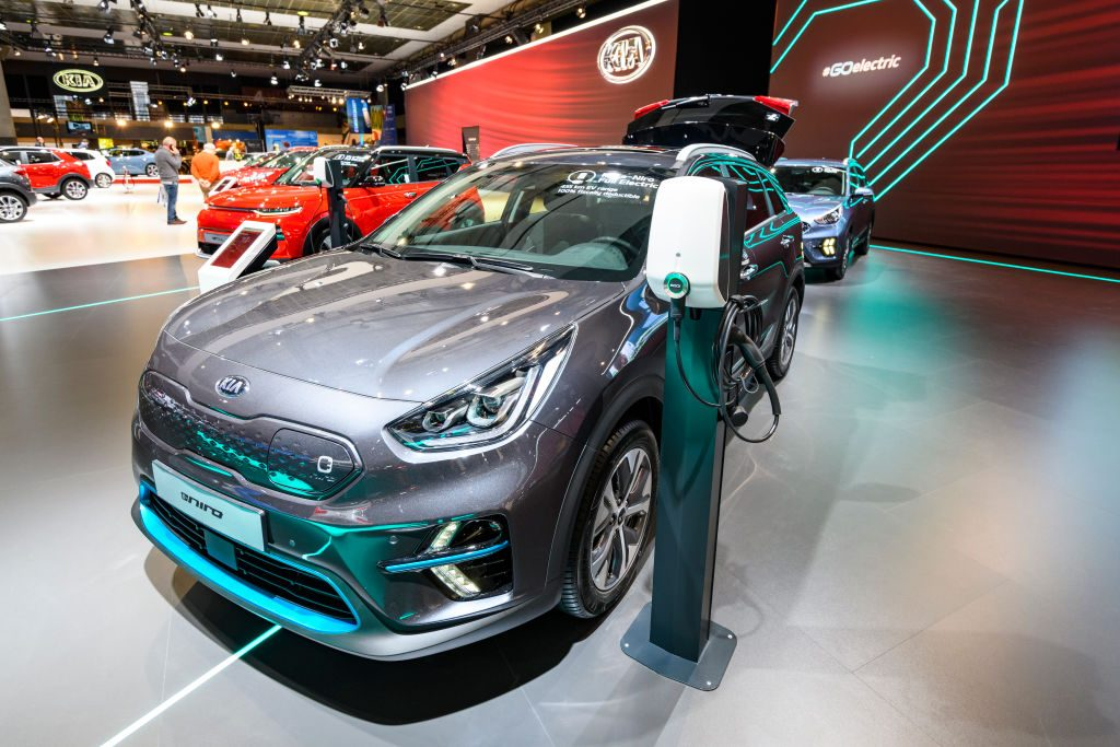 KIA Niro EV all electric subcompact crossover on display at Brussels Expo