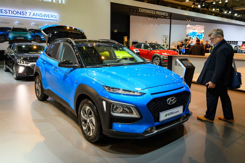 Hyundai Kona Hybrid compact crossover suv on display at Brussels Expo on January 9, 2020 in Brussels, Belgium