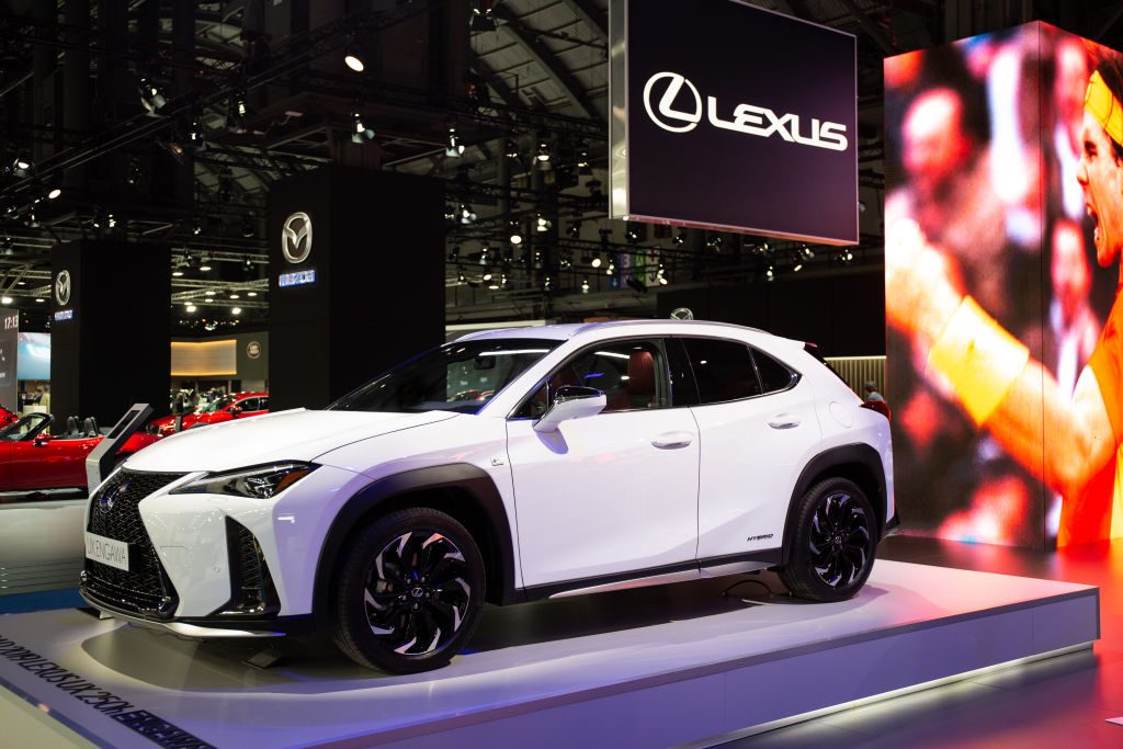 LEXUS UX 250 H. ENGAWA in exposition in the first day of the 'Salon del automovil 2019' on May 09, 2019