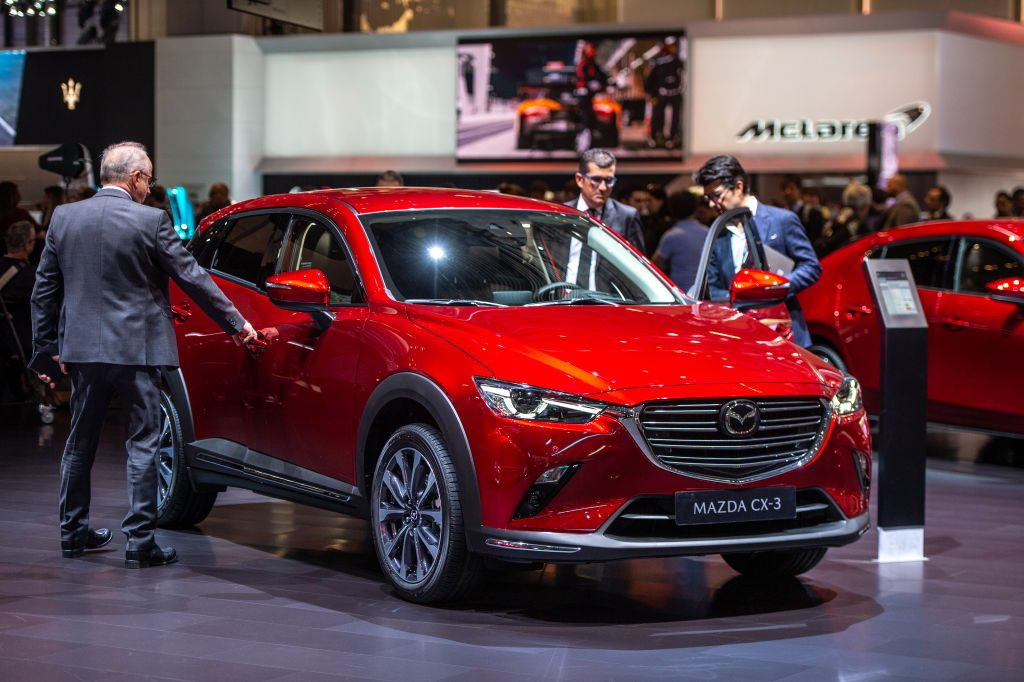 A Mazda CX-3 on display at an auto show