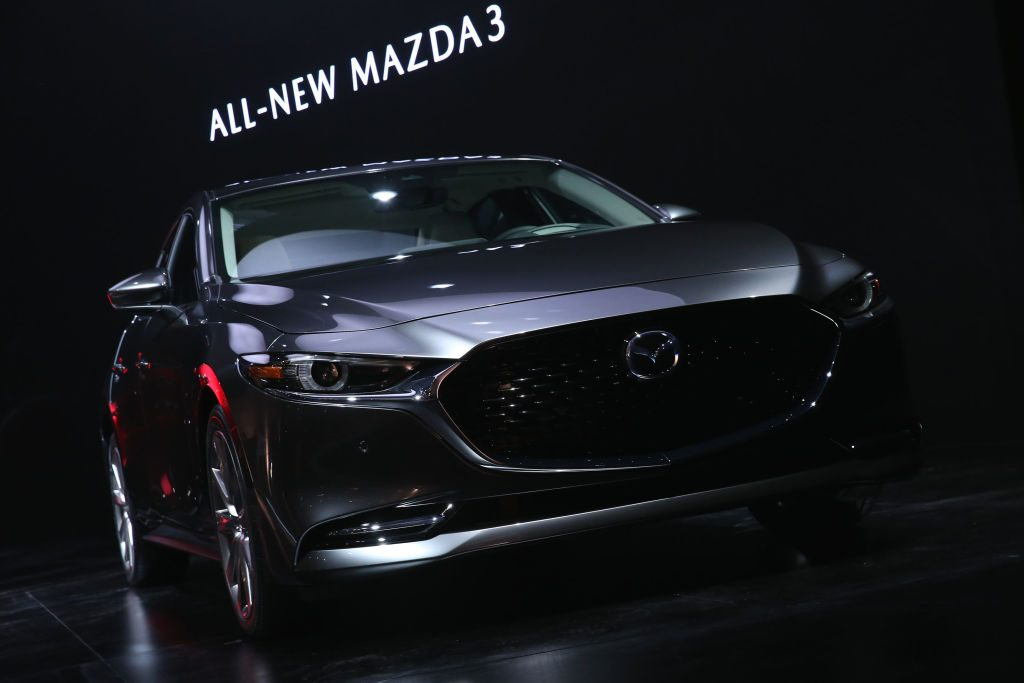 The all new Mazda3 is seen onstage during the Mazda event prior to the L.A. Auto Show