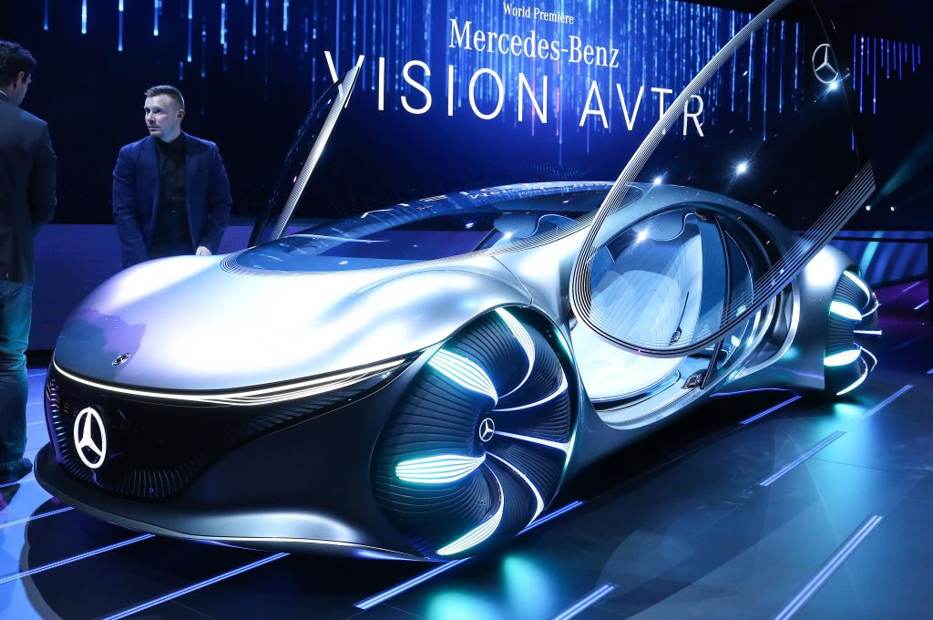 The Mercedes-Benz Vision AVTR concept car on display