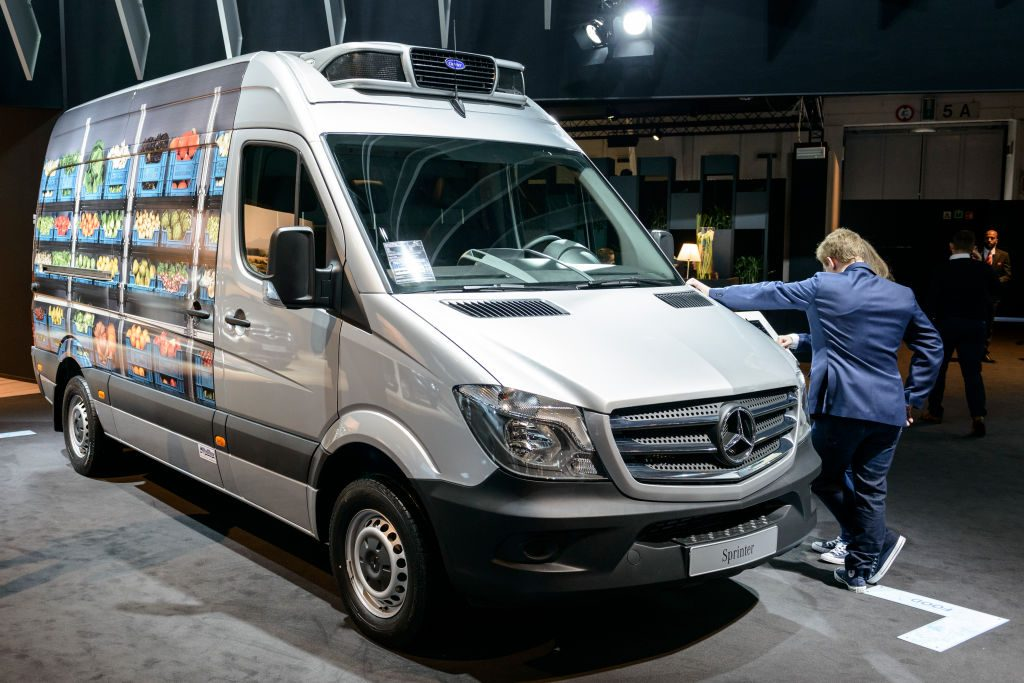 A Mercedes camper van on display