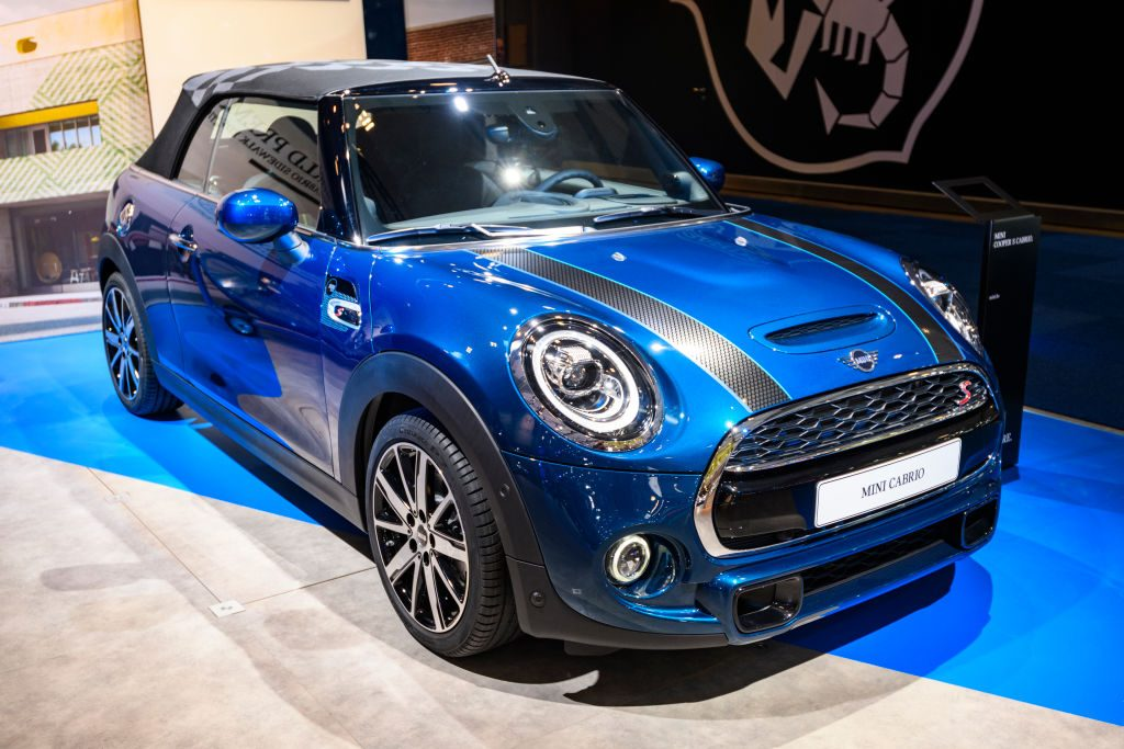 A MINI convertible on display