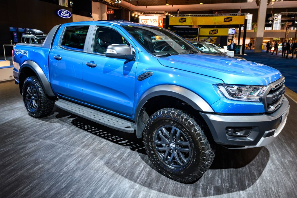 A 2020 Ford F-150 on display at an auto show
