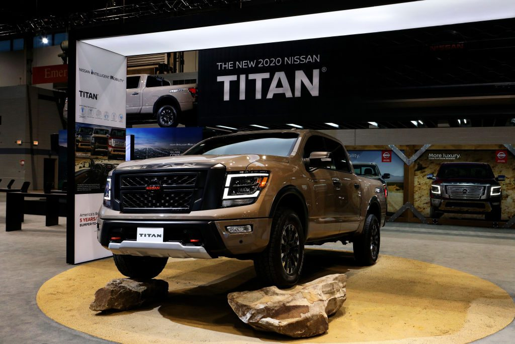 A new 2020 Nissan Titan on display at an auto show