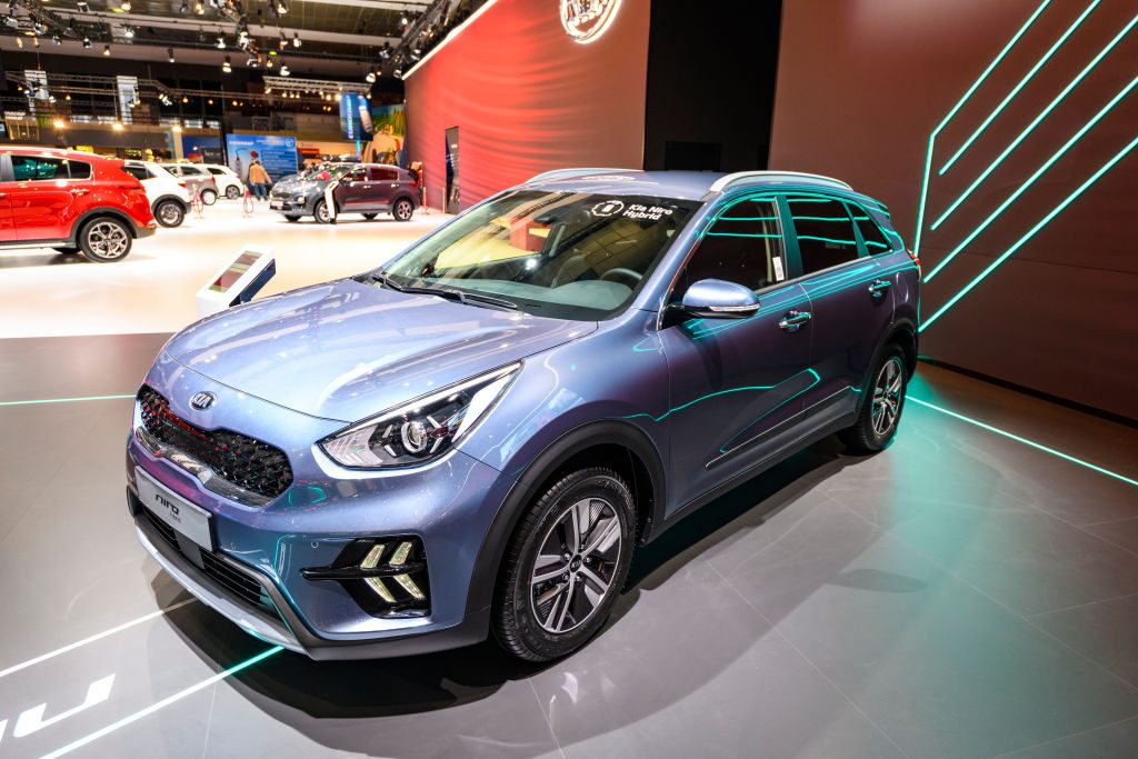 KIA Niro hybrid subcompact crossover on display at Brussels Expo
