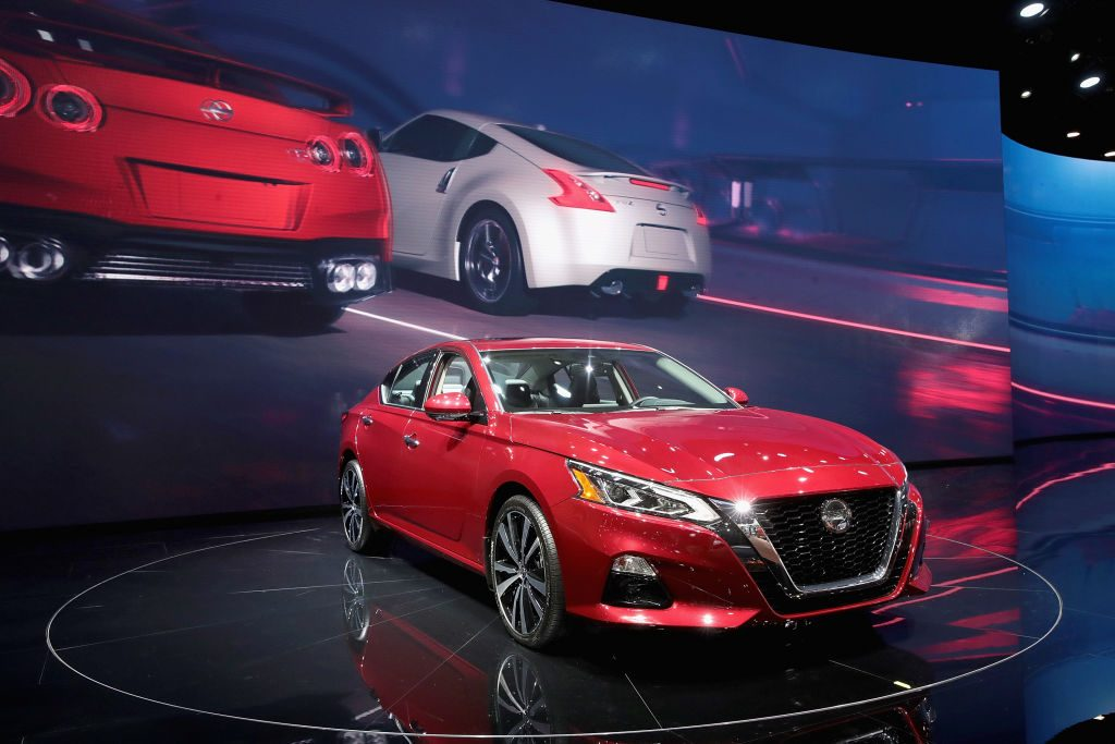 Nissan shows off their Altima at the North American International Auto Show (NAIAS) at the Cobo Center