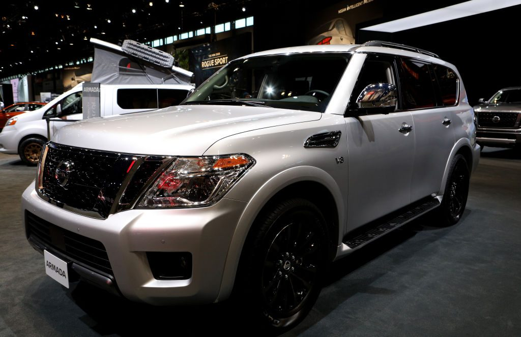 A Nissan Armada on display at an auto show