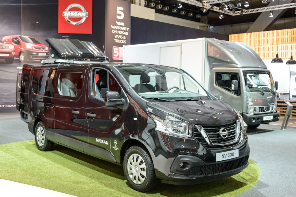 Nissan NV300 panel van light commercial vehicle on display at Brussels Expo