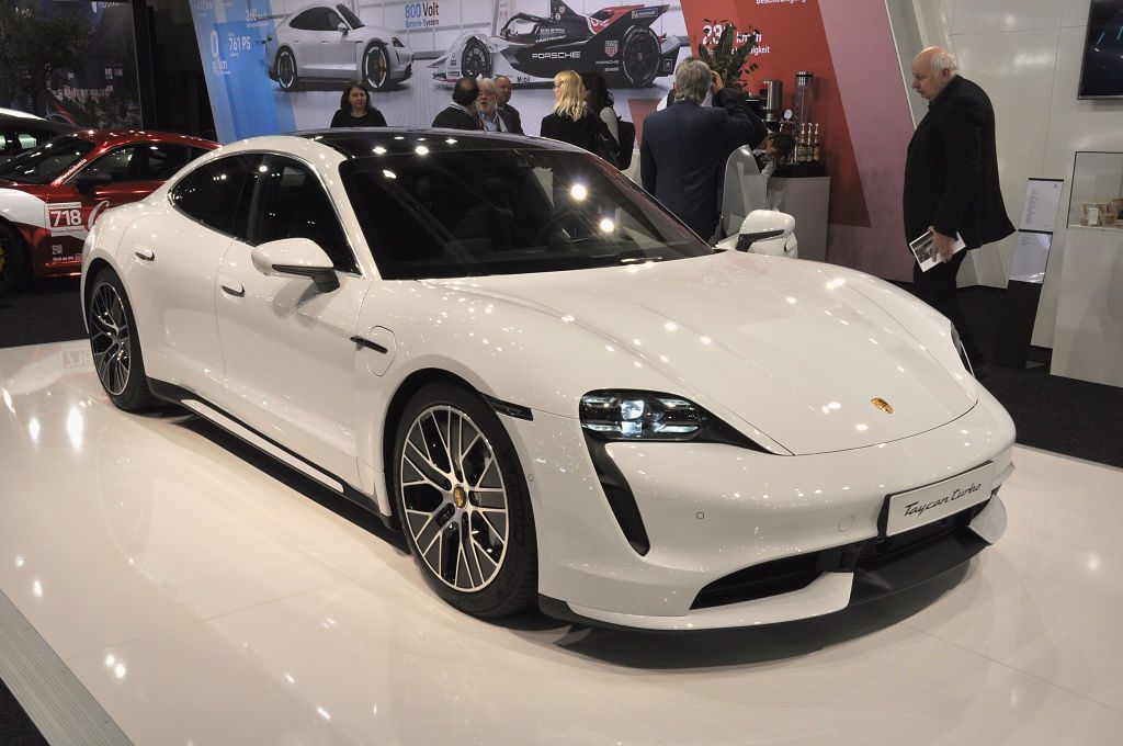 A Porsche Taycan turbo is seen during the Vienna Car Show press preview at Messe Wien, as part of Vienna Holiday Fair, on January 15, 2020