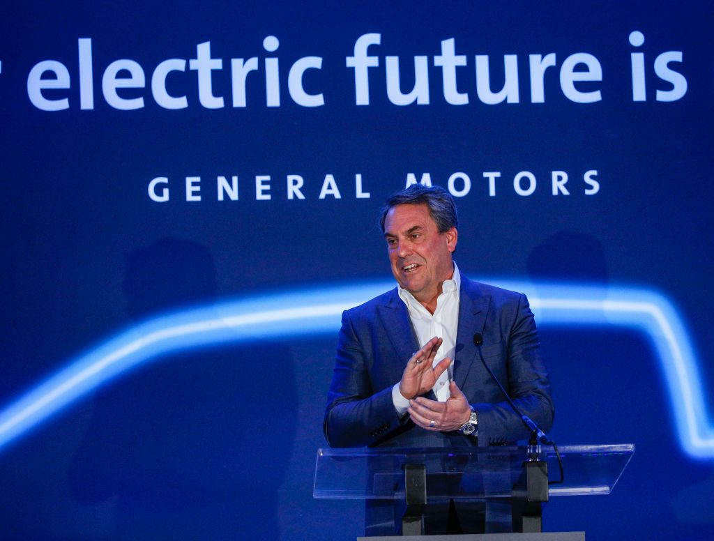 Mark Reuss, President of General Motors, announces that GMs Detroit-Hamtramck Assembly plant will build the all-electric Cruise Origin self-driving shuttle