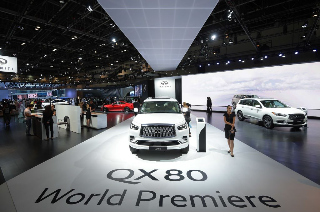 Infiniti QX80 is seen during Dubai Motor Show at Dubai World Trade Centre on November 15, 2017