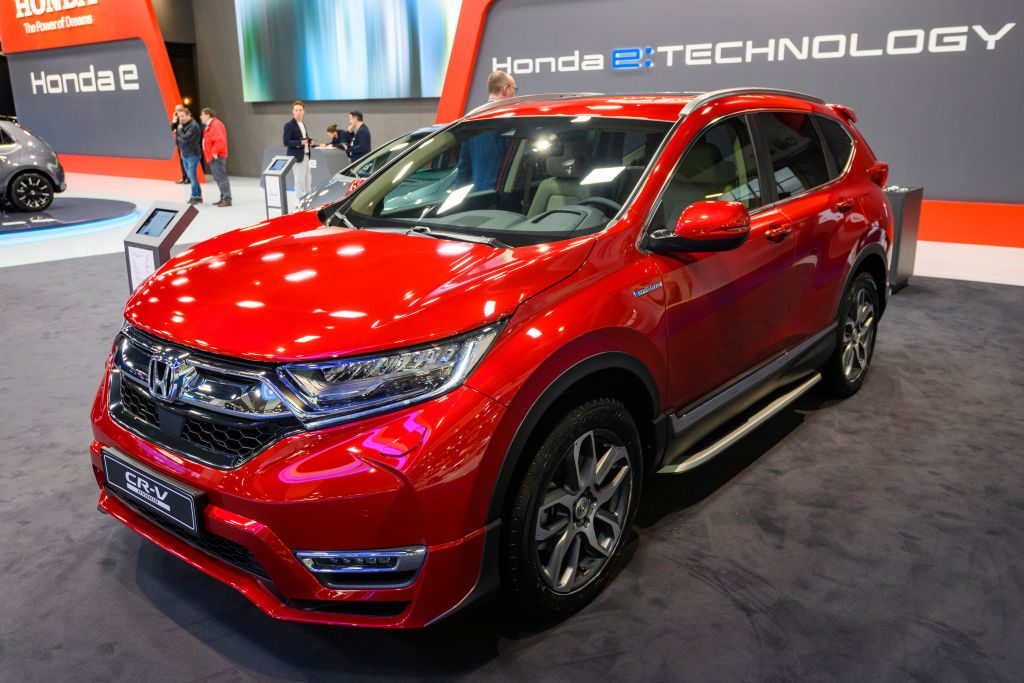 A red Honda CR-V on display