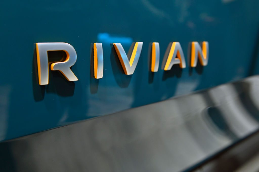 Rivian's R1T, an all-electric pick up truck is displayed at the Amazon booth during CES 2020
