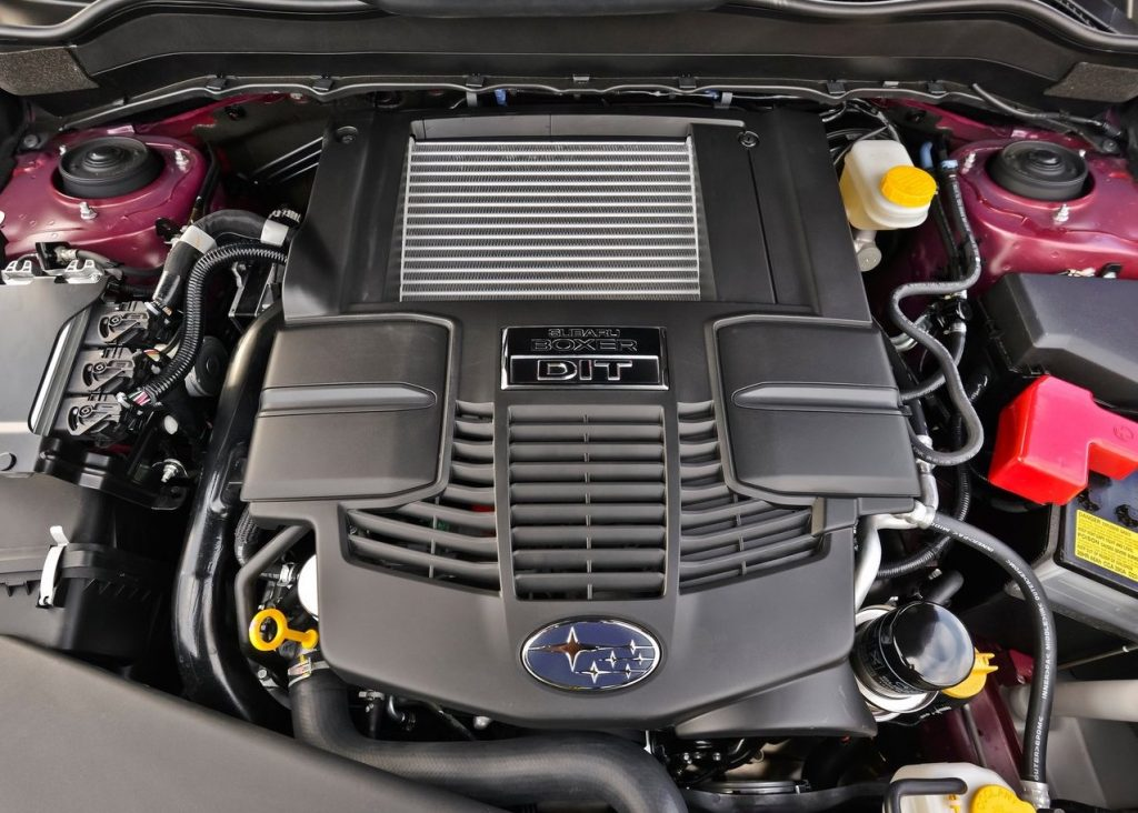 The engine of a Subaru Forester