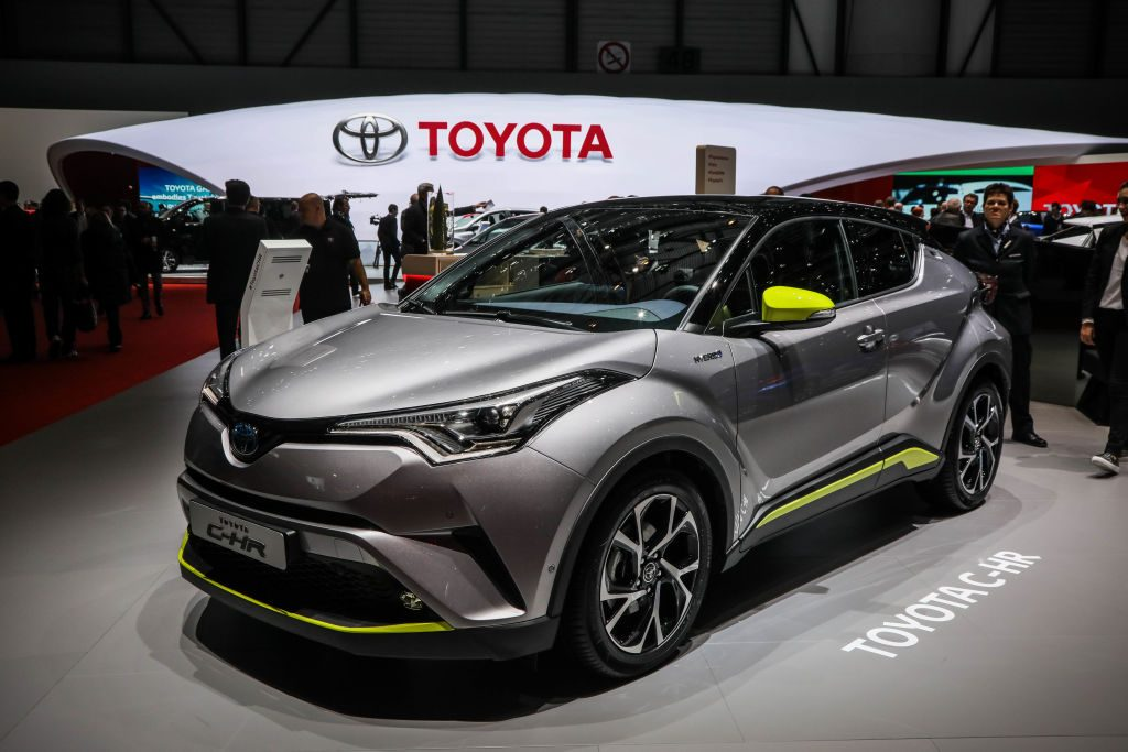 A new Toyota C-HR on display at an auto show